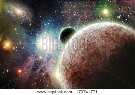 Planets in space  3D Render  Some elements provided courtesy of NASA
