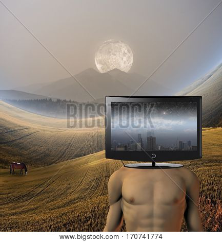 Country man with city mind  Some elements provided courtesy of NASA  3D Render
