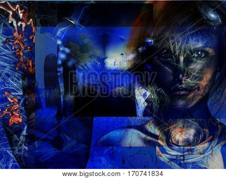 Modern Art Grunge Blue Abstract with Woman  Some elements provided courtesy of NASA  3D Render