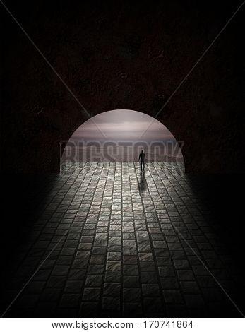 Man in tunnel with gloomy ocean view  3D Render
