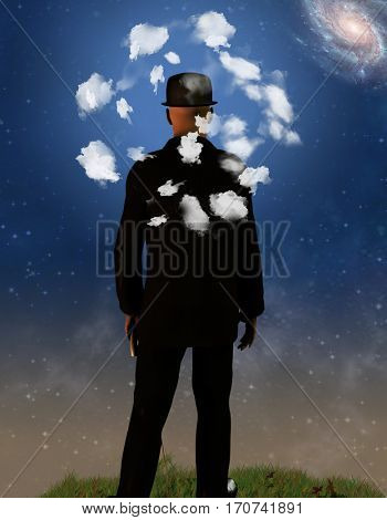 Dreamer Man with clouds around head  Some elements provided courtesy of NASA  3D Render