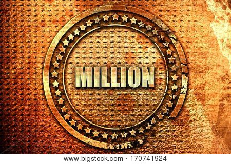 million, 3D rendering, text on metal