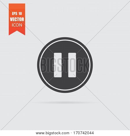 Pause Icon In Flat Style Isolated On Grey Background.