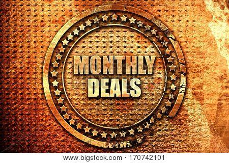 monthly deals, 3D rendering, text on metal