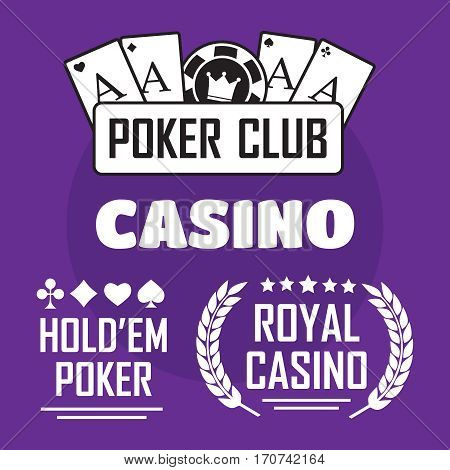 Poker club and casino vector sign set. Poker club vector