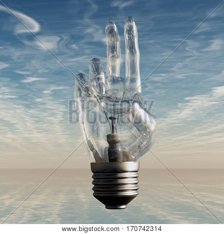 Hand bulb and sky  3D Render