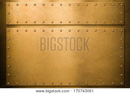 Gold metal plates with rivets background 3d illustration