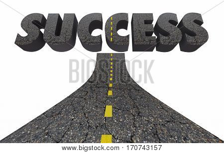 Road to Success Achieve Great Results Succeed 3d Illustration