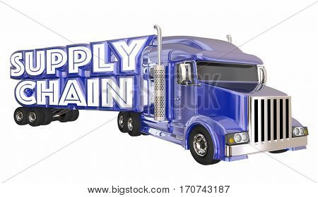 Supply Chain Truck Logistics Supplier Shipping Transportation 3d Illustration