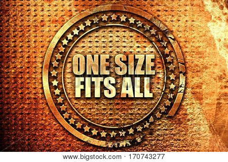 one size fits all, 3D rendering, text on metal