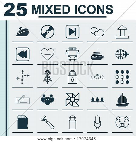 Set Of 25 Universal Editable Icons. Can Be Used For Web, Mobile And App Design. Includes Elements Such As Worldwide Flight, Harrow, Sailboat And More.