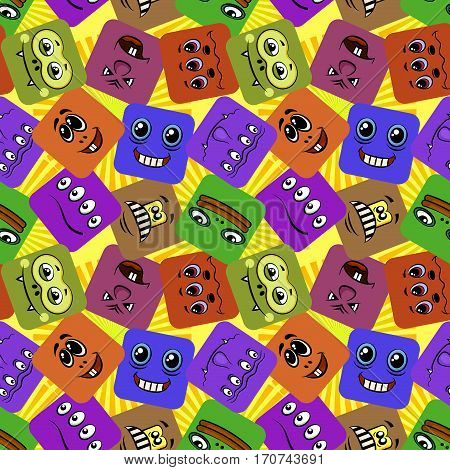 Seamless Background with Smileys, Monsters, Funny Cartoon Characters, Different Faces in Colorful Squares, Tile Pattern for Your Design. Vector