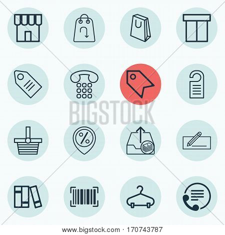 Set Of 16 E-Commerce Icons. Includes Callcentre, Shop, Box And Other Symbols. Beautiful Design Elements.