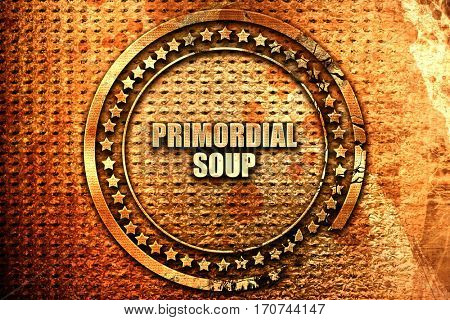 primordial soup, 3D rendering, text on metal