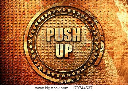 Pushup, 3D rendering, text on metal