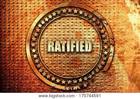 ratified, 3D rendering, text on metal