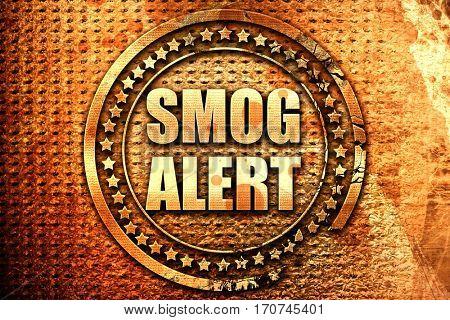 smog alert, 3D rendering, text on metal