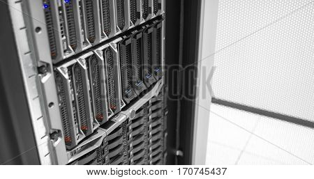 Blade servers and SAN storage in a data rack in large enterprise datacenter.