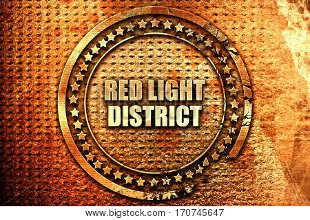 red light district, 3D rendering, text on metal