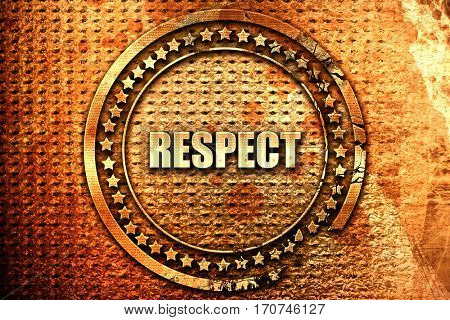 respect, 3D rendering, text on metal