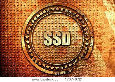 ssd, 3D rendering, text on metal