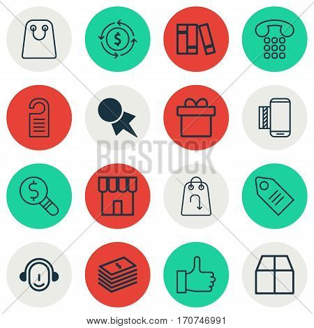 Set Of 16 E-Commerce Icons. Includes Callcentre, Cardboard, Business Inspection And Other Symbols. Beautiful Design Elements.