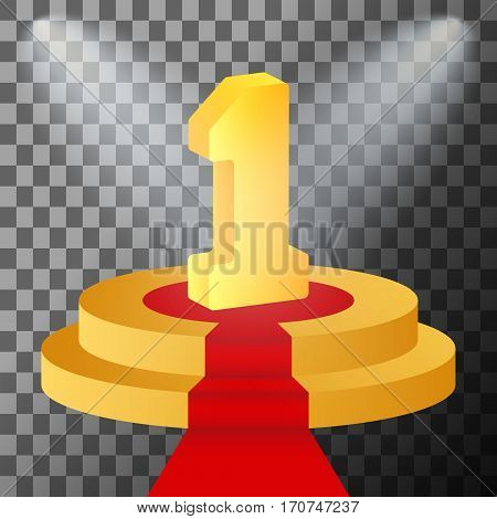 3d golden number 1 on podium. Winner first place symbol. Scene illumination with cold light effect. Stage illuminated spotlight. Vector illustration.