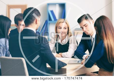 Time concept. Business people working in conference room