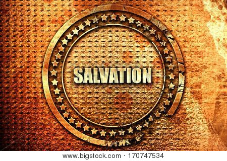 salvation, 3D rendering, text on metal