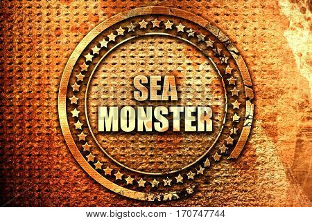 sea monster, 3D rendering, text on metal