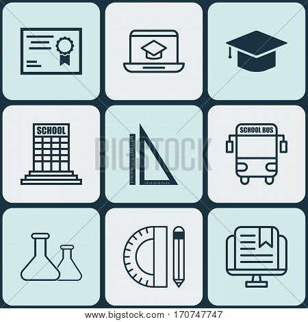 Set Of 9 Education Icons. Includes Measurement, Academy, Graduation And Other Symbols. Beautiful Design Elements.