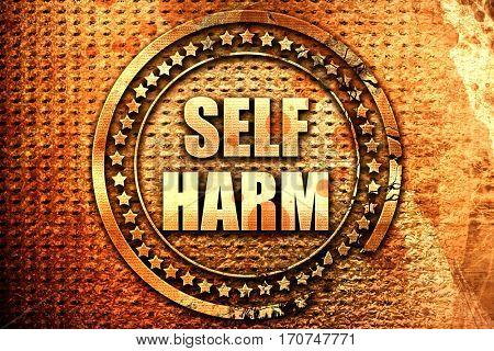 self harm, 3D rendering, text on metal