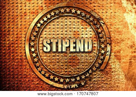stipend, 3D rendering, text on metal