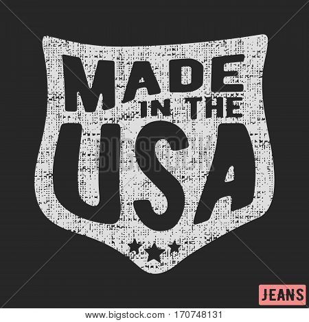 T-shirt print design. Made in the USA vintage stamp. Printing and badge applique label t-shirts, jeans, casual wear. Vector illustration.