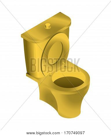 Golden Toilet Isolated. Wc For Rich On White Background