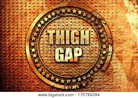 thigh gap, 3D rendering, text on metal