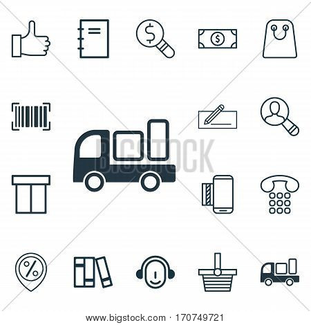 Set Of 16 E-Commerce Icons. Includes Callcentre, Recommended, Spectator And Other Symbols. Beautiful Design Elements.