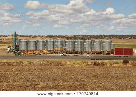 Farmland with grain storage silos