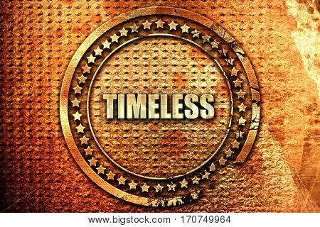 timeless, 3D rendering, text on metal