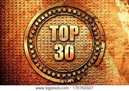 top 30, 3D rendering, text on metal