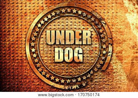 underdog, 3D rendering, text on metal