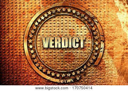 verdict, 3D rendering, text on metal