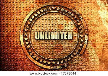 unlimited, 3D rendering, text on metal
