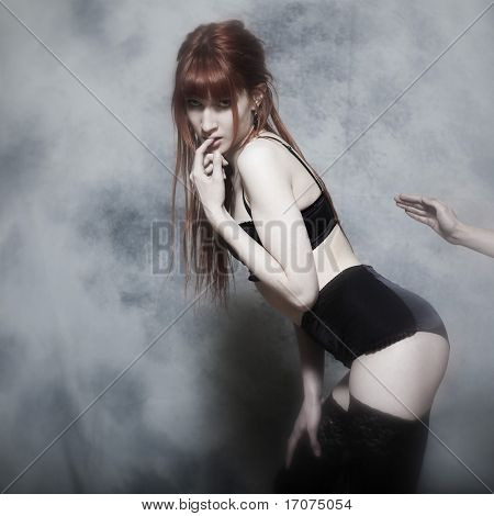 studio shot of a beautiful cute babe with underwear on isolated background poster