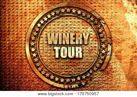 winery tour, 3D rendering, text on metal