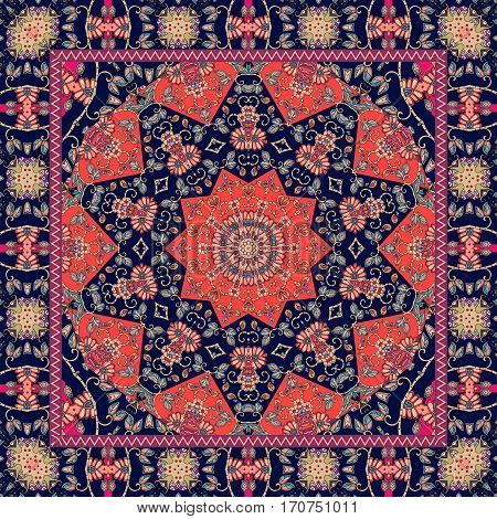 Indian red tablecloth with flower - mandala. Rug scarf or pillowcase.