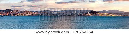 A view of Vigo at sunset from the other side of the bay (Galicia Spain)