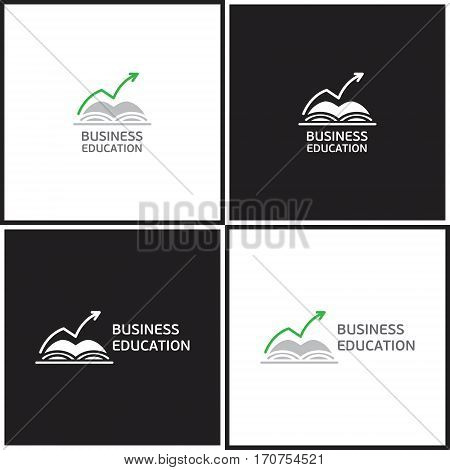Vector eps logotype or illustration showing business education with book and rised arrow