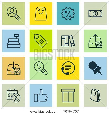 Set Of 16 Ecommerce Icons. Includes Buck, Recommended, Withdraw Money And Other Symbols. Beautiful Design Elements.