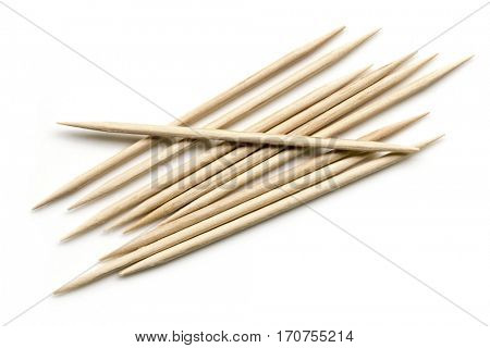 Toothpicks isolated on white.  Top view.